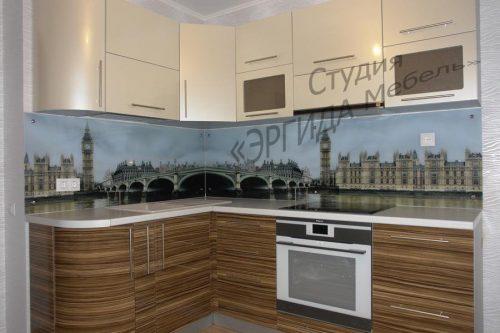Кухня с фасадами МДФ + фотопечать на стекле