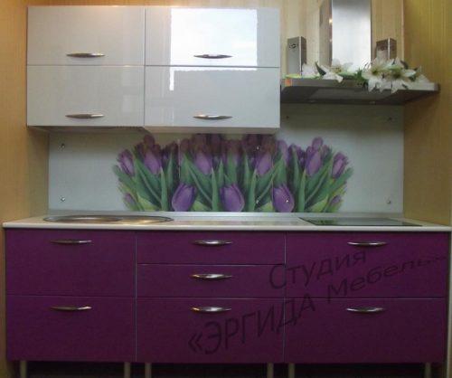 """Кухня """"Виола"""" эмаль глянец, фартук стекло"""