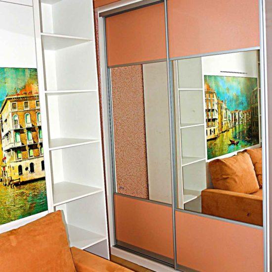 2-х дверный шкаф купе с зеркалами и вставками из МДФ