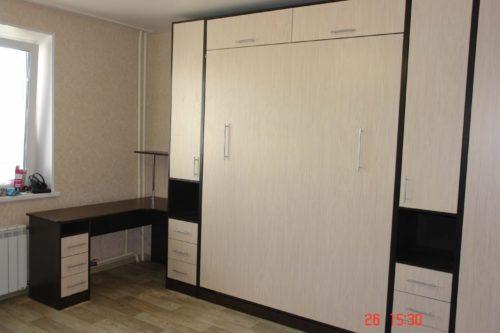 Шкаф кровать с антерсолью, столом и пеналами