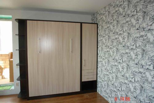 Шкаф кровать с пеналом и открытыми полочками