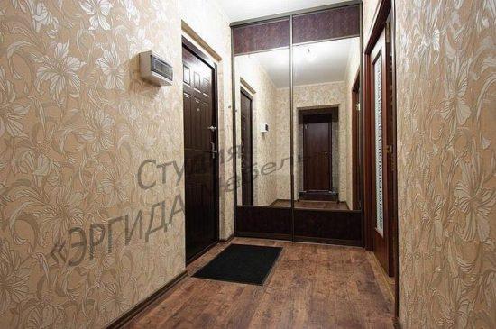 Двери-купе в гардеробную, вставка - зеркало и иск.кожа