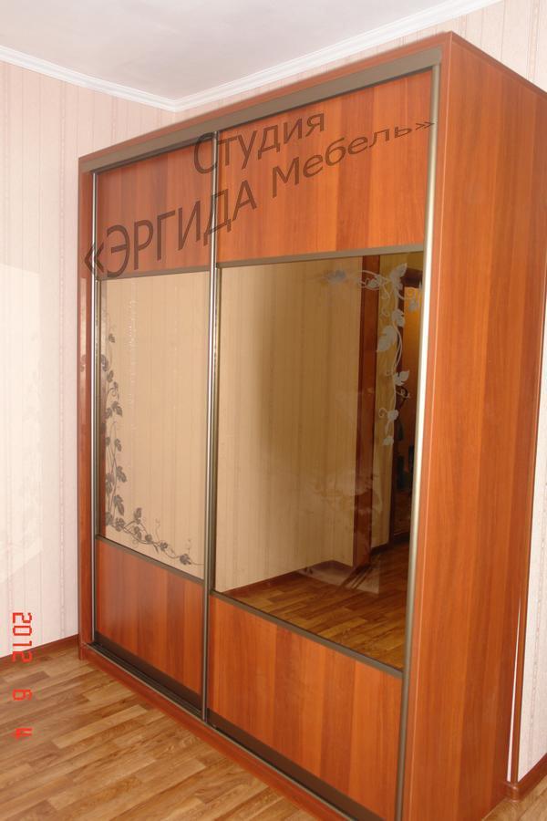 Шкаф-купе, на зеркале - пескоструйный рисунок