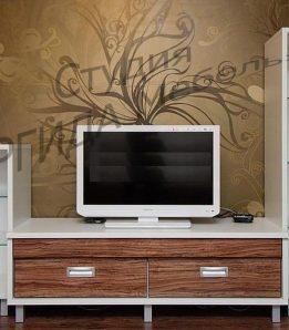 Тумба ТВ с выкатными ящиками и стеклянными полочками